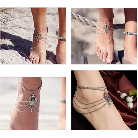 Boho Turquoise Silver Anklets With Chic Tassel Jewelry, Arissa : Kandis , Arissa : Kandis