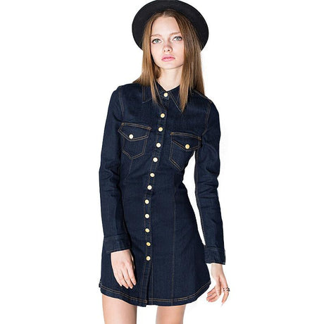 Retro Long Sleeve Denim Dress