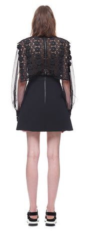 Balloon Sleeve A Line Mini Dress with Lace Panels Dresses, 蘑菇精灵女装, Arissa : Kandis