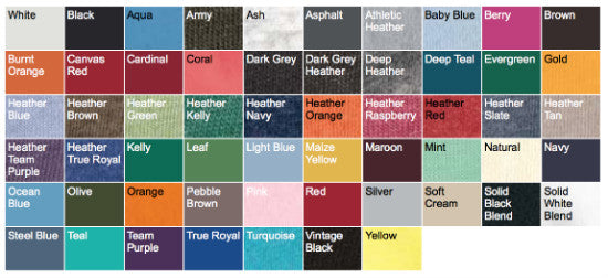 Bella + Canvas 3001 t-shirt Color Chart