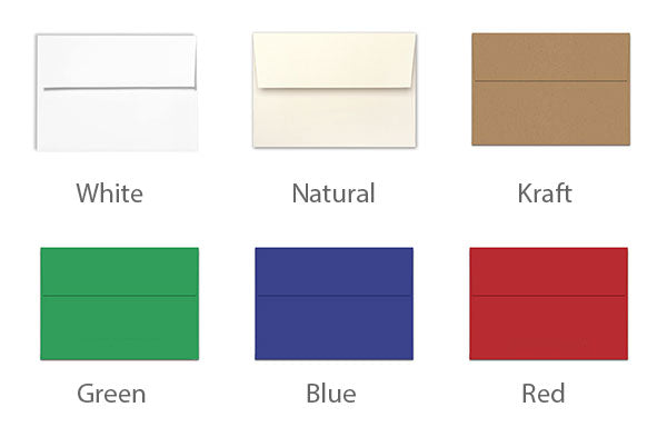 Envelopes color choices for 5x7 flat cards