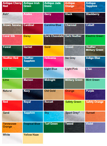 Gildan 5.3 Shirt Color Chart