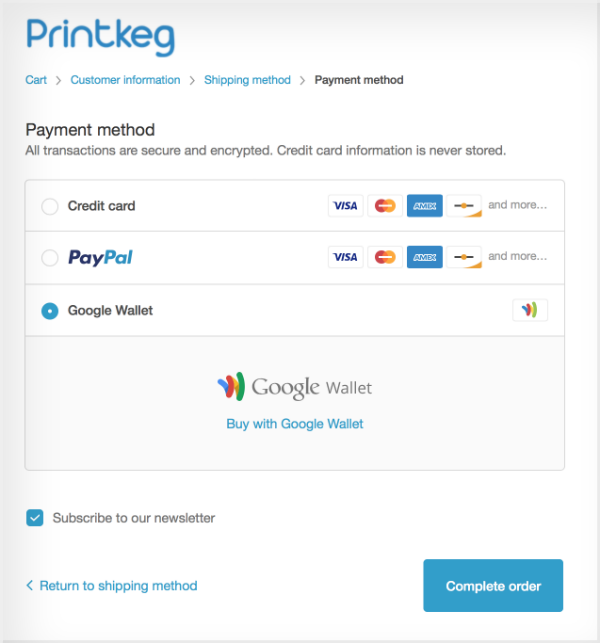 Demonstrating how to use Google Wallet to pay for prints at Printkeg
