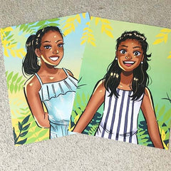 Illustrations printed as 4.25x5.5 cards