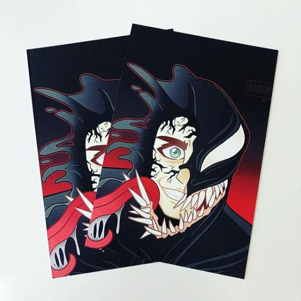 Card print of Venom fan art