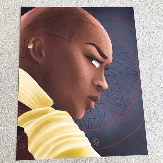 Black Panther Okoye print for fan arist