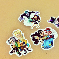 Three cartoon die cut stickers