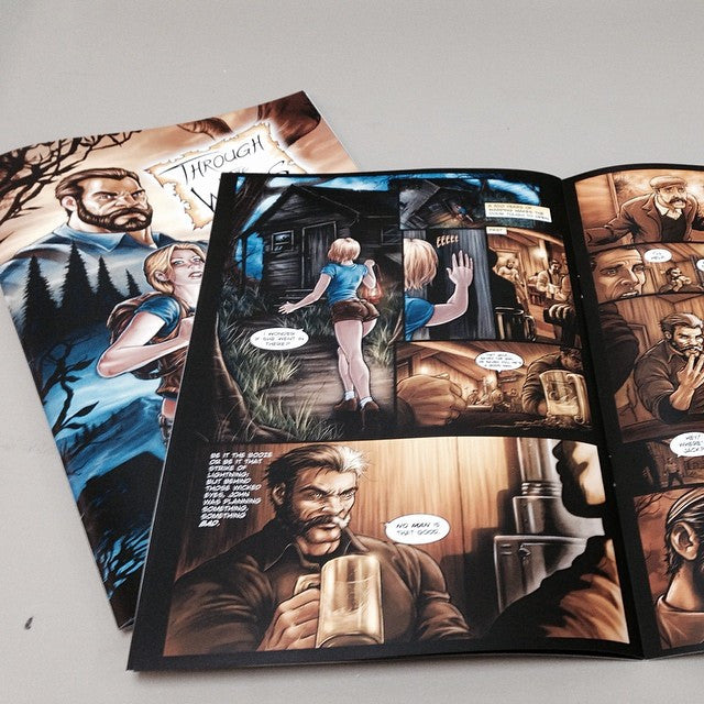 Showing inner pages of a printed comic book