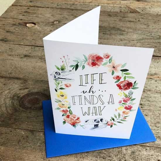 Custom 5x7 folded card with blue envelope