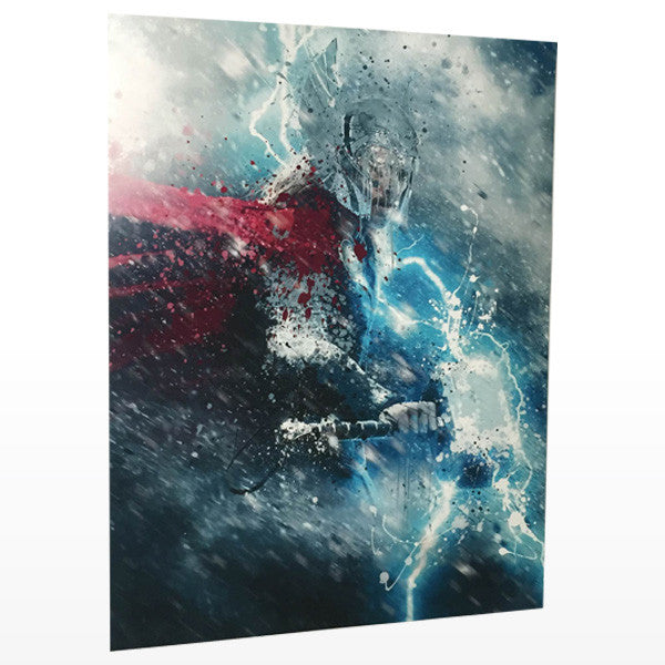 Thor artwork on watercolor print