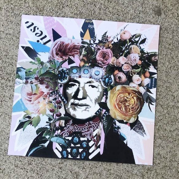 10x10 square print with Willie Nelson art