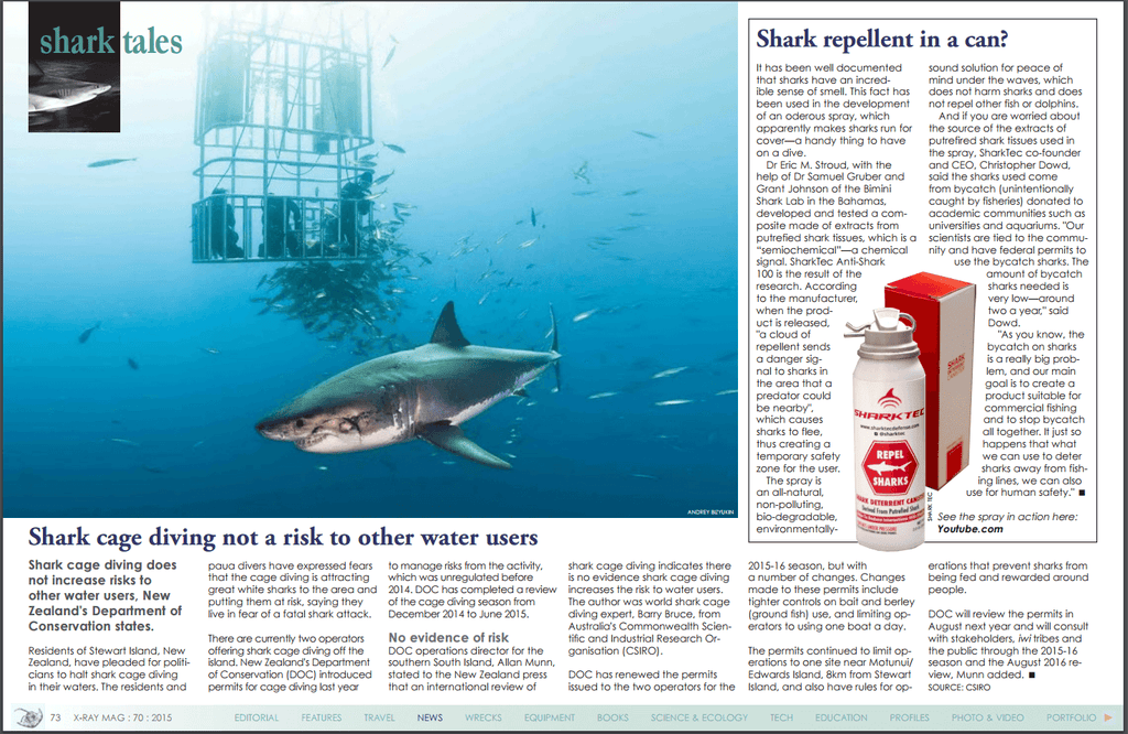 X-Ray Magazine SharkTec shark repellent coverage