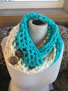 turquoise and cream combo handmade ECB infinity knit waffle scarf