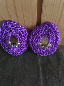Vintage look tear drop crochet earrings purple