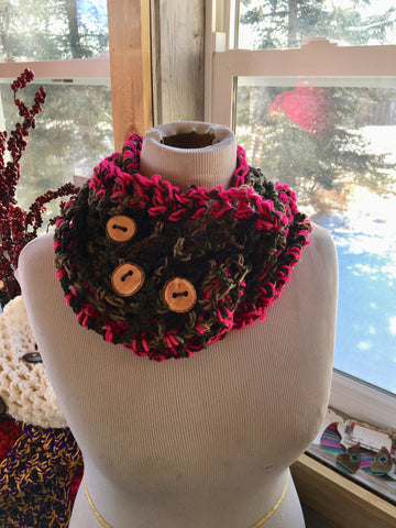 Camo and dark pink trim homemade waffle knit scarf
