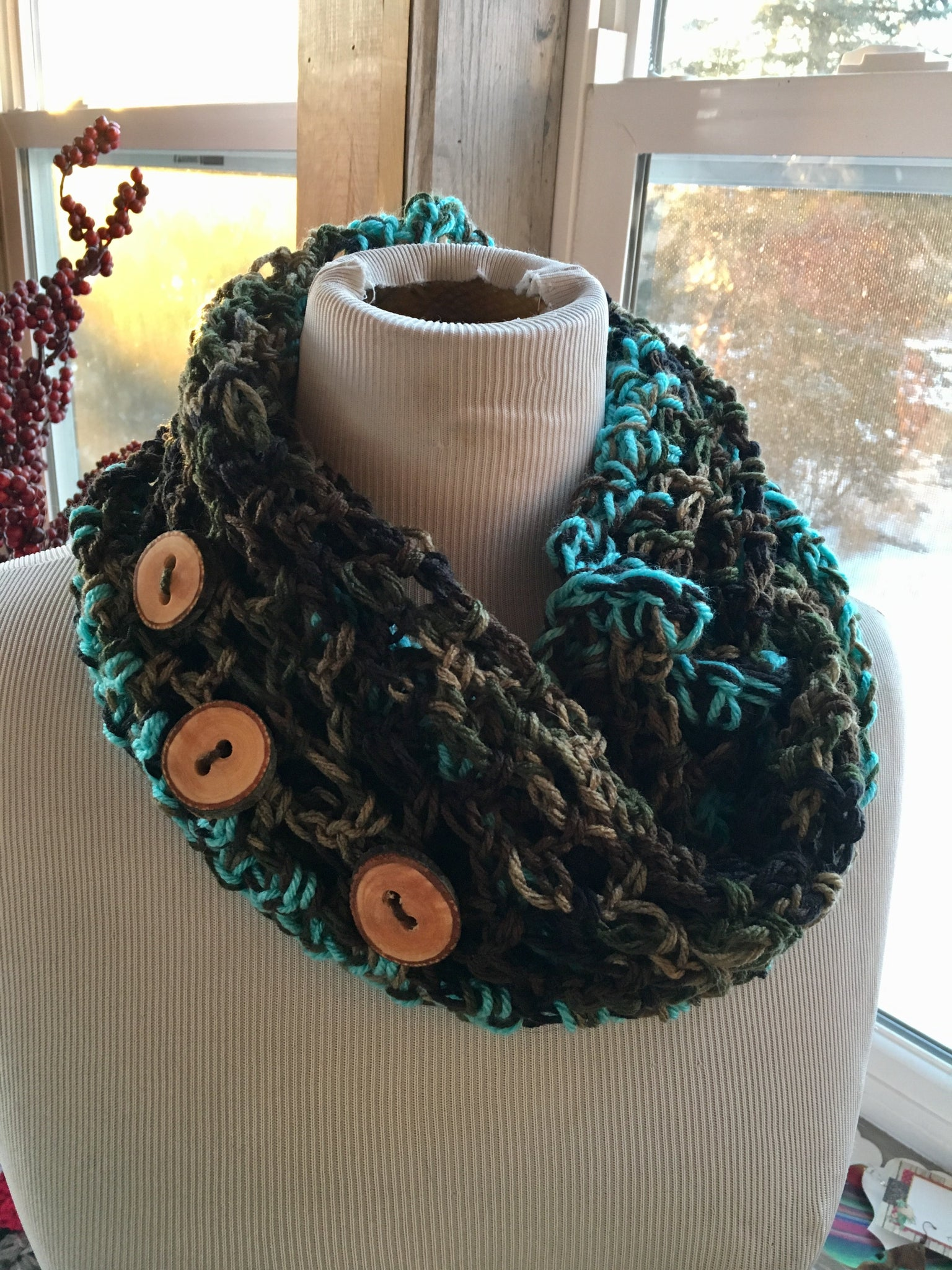 Turquoise and camo knit handmade infinity scarf