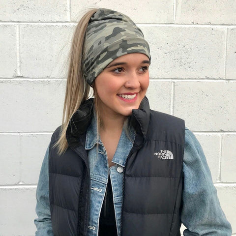 Camo messy bun beanie knit hat