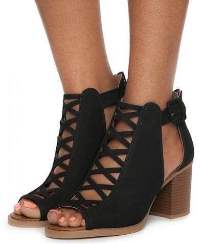 Black booties anklet lace up shoes