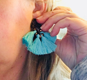 Turquoise fan tassel handmade earrings