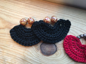 Leopard beaded black handmade earrings crochet