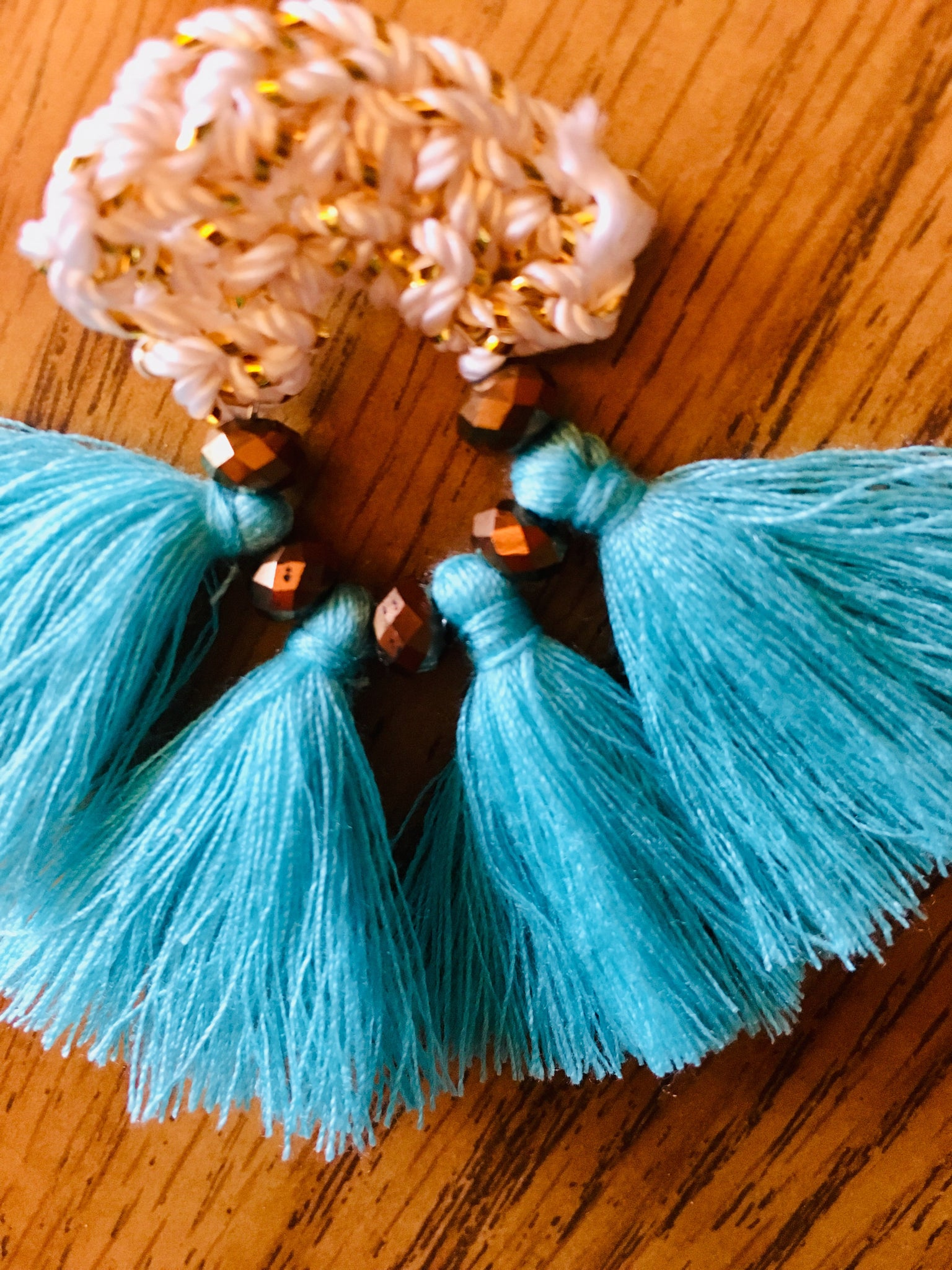 Turquoise fan tassel earrings handmade