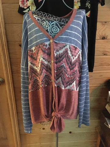 Aztec cowgirl fun with stripes top
