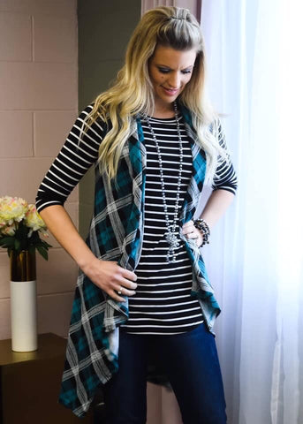 Teal plaid open front vest