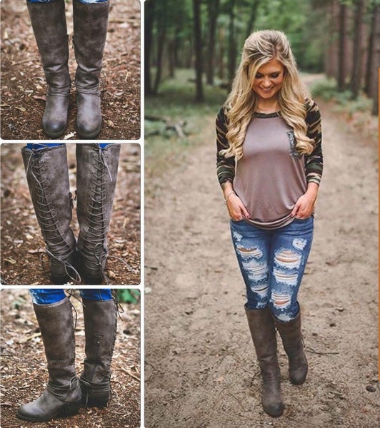 Lace up calf boots in taupe
