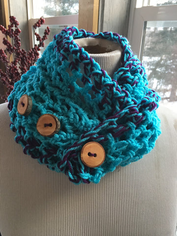 Turquoise and purple infinity handmade scarf