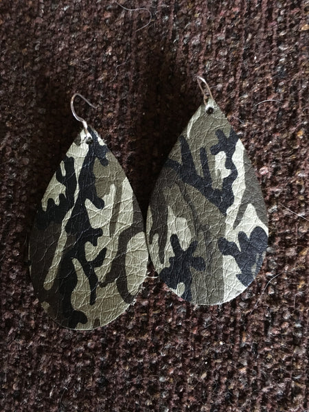 Leather earrings handmade camo