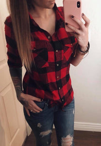 Buffalo check plaid shirt button down top