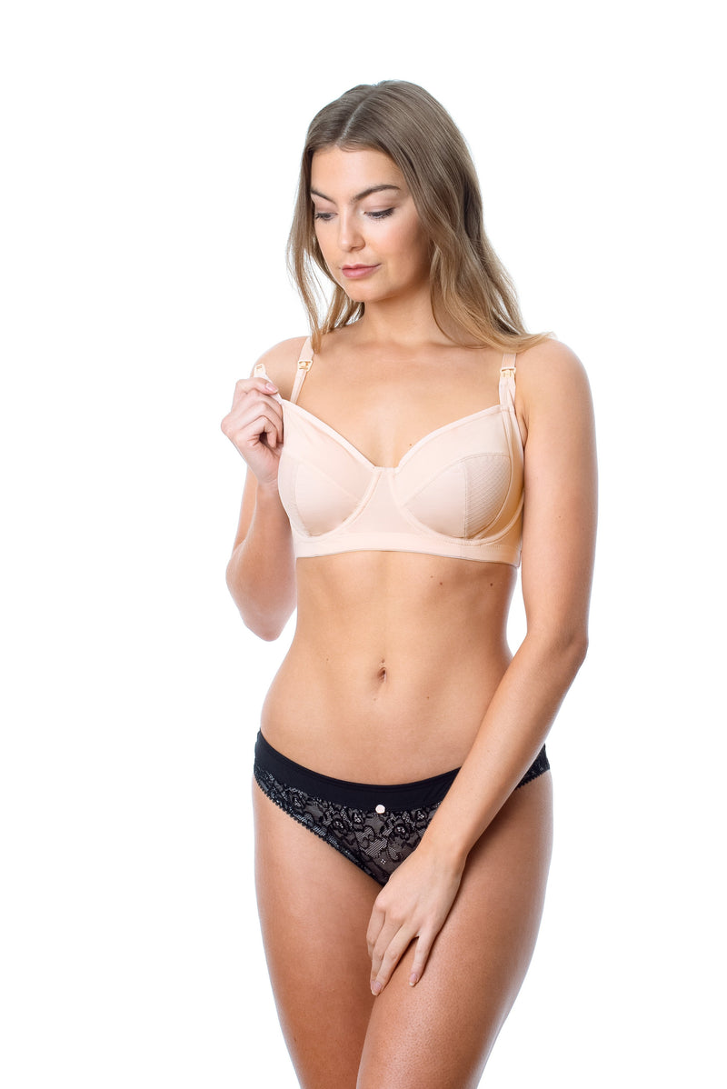 HOTMILK ENLIGHTEN CAMEO PREGNANCY NURSING BREASTFEEDING- FLEXI UNDERWIRE MATCHED WITH THE TEMPTATION BLACK BIKINI BRIEF