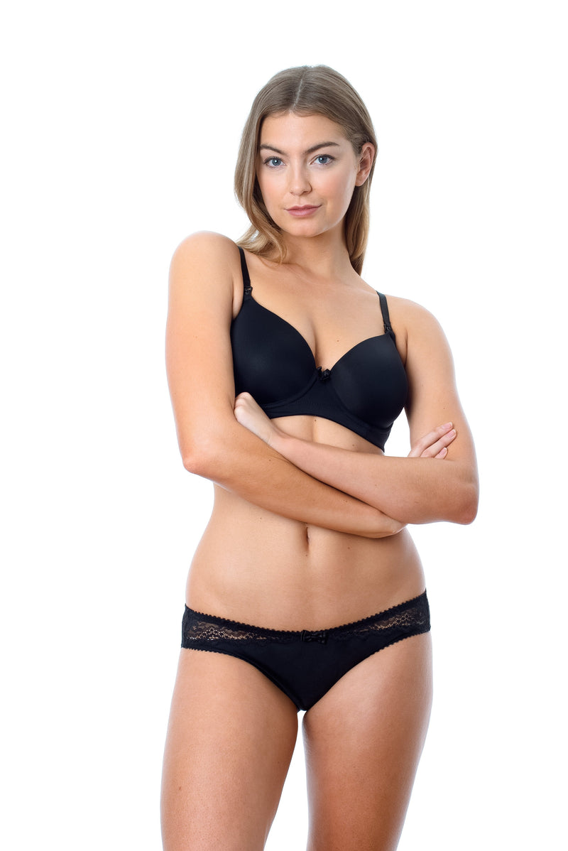 HOTMILK FOREVER YOURS MATERNITY NURSING BREASTFEEDING JET BLACK CONTOUR NURSING BRA - FLEXI UNDERWIRE WITH ECLIPSE BLACK BIKINI BRIEFS