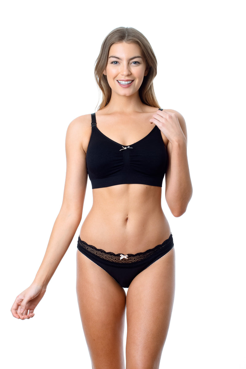HOTMILK MY NECESSITY JET BLACK NURSING PREGNANCY BREASTFEEDING SLEEP HOSPITAL BRA - WIREFREE WITH SHOW OFF JET BLACK BIKINI BRIEF