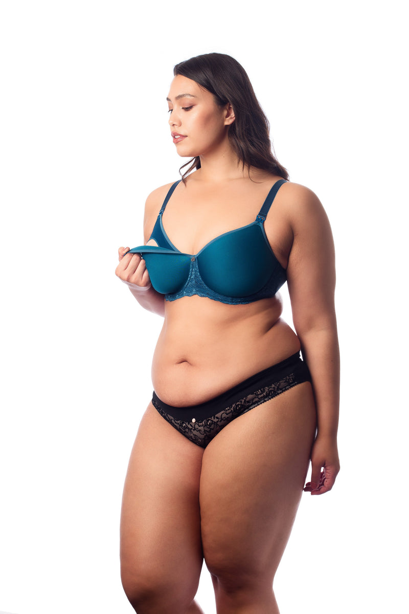 OBSESSION FULL CUP NURSING BRA HOTMILK IN AQUAMARINE FOR BREASTFEEDING