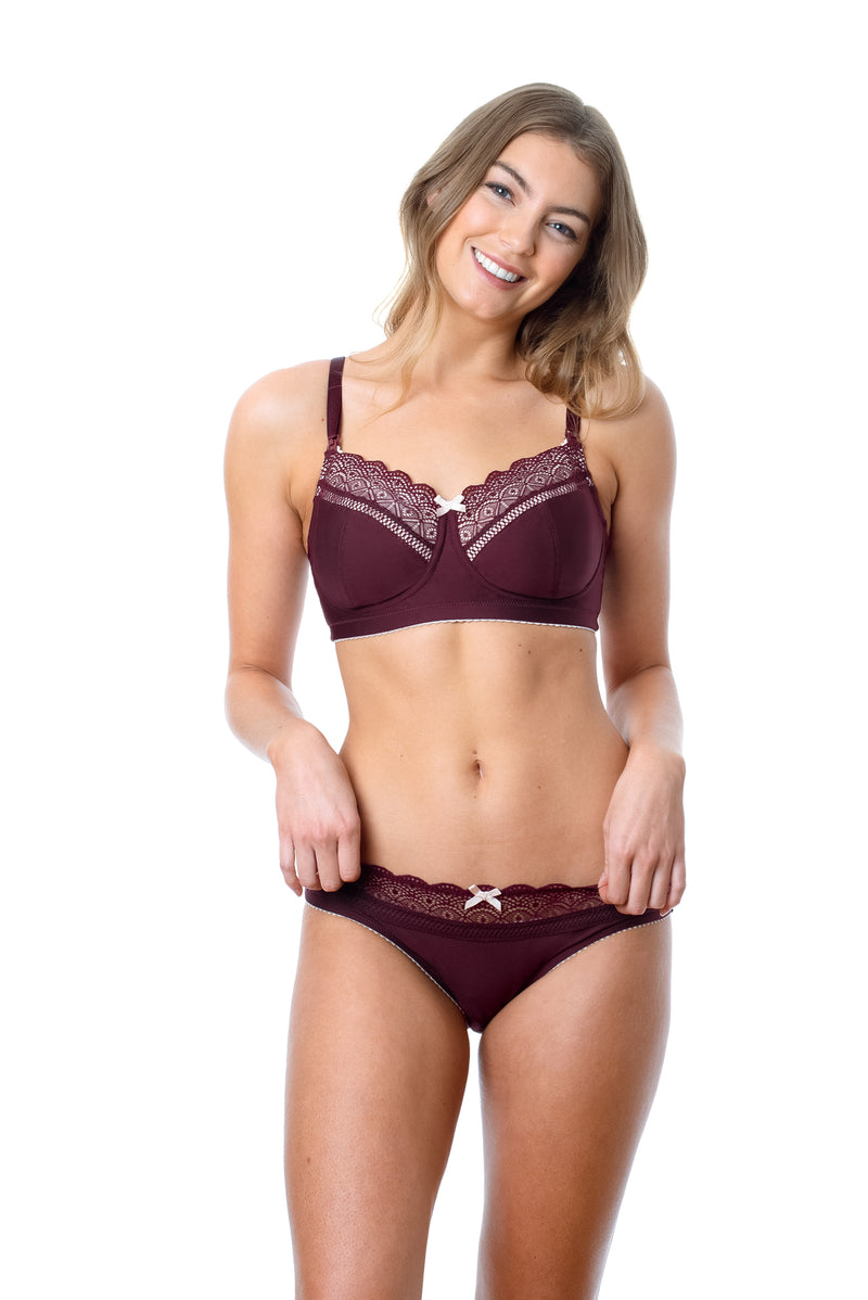 Hotmilk Show Off Fig nursing bra for breastfeeding with bikini brief