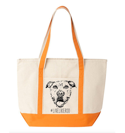 #LiveLikeRoo - Large Cotton Canvas Beach Tote Bag