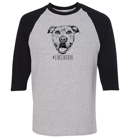 #LiveLikeRoo - Unisex Three-Quarter Raglan Sleeve T-Shirt
