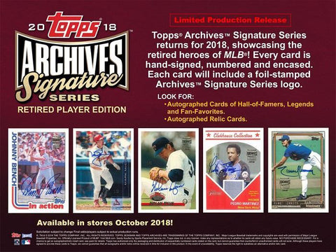 2018 Topps Archive Signature Series Retired Player Edition 20 Box Case Random Player Break #1