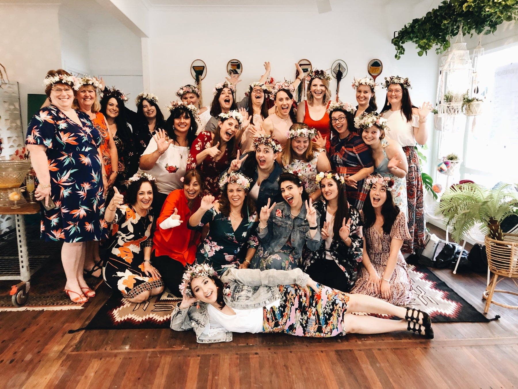 Large group of girls at flower crown craft party