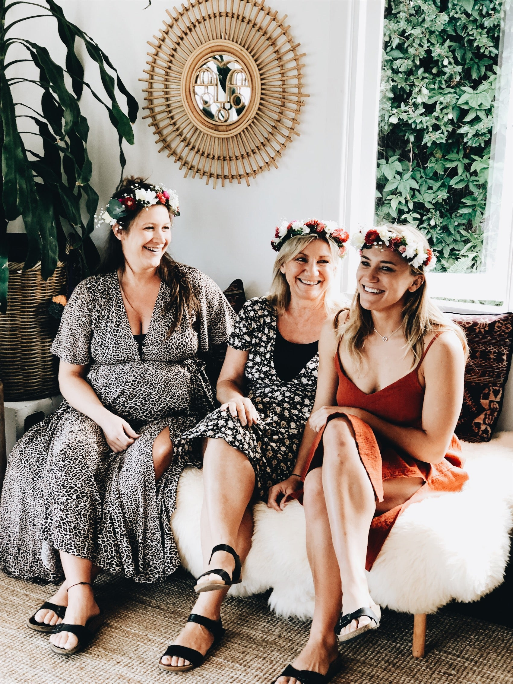 3 girls at a craft party with their handmade flower crown