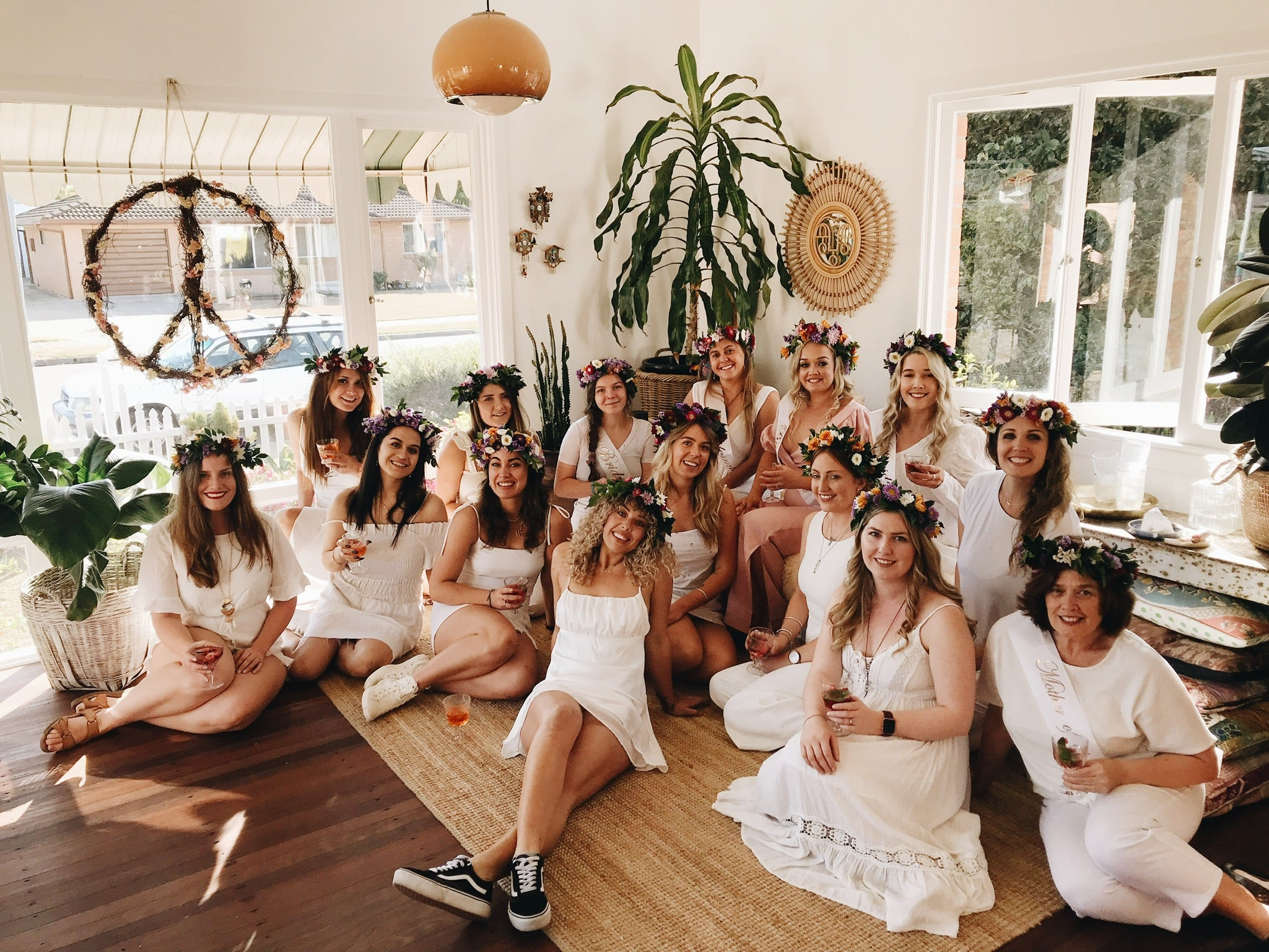 Hens party wearing handmade flower crowns