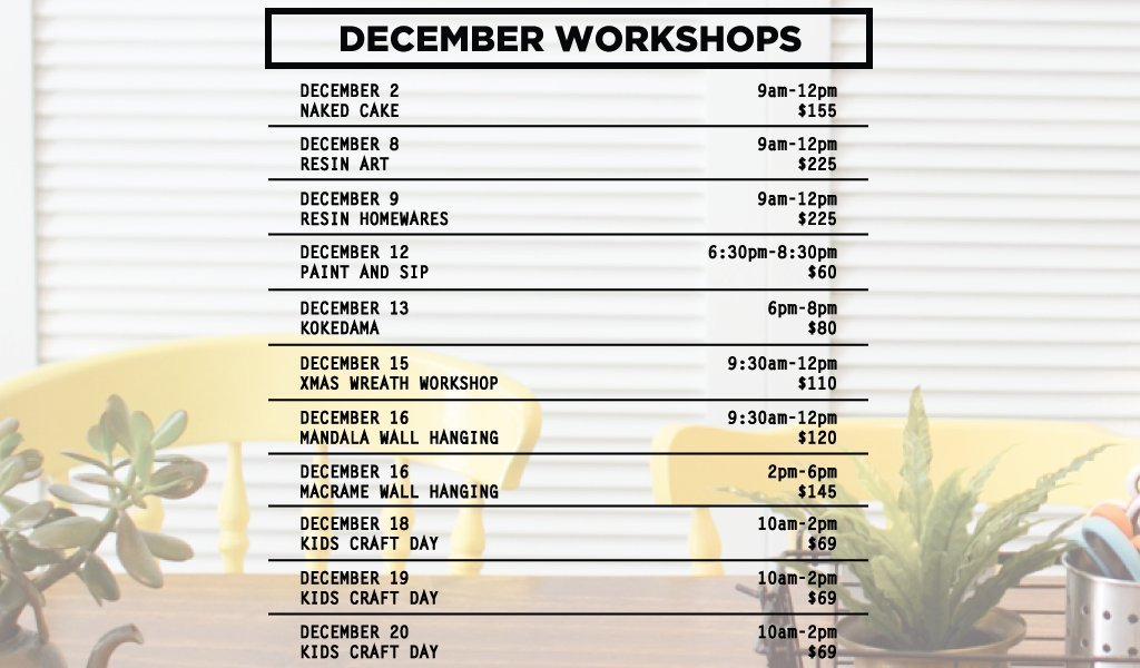 December workshops palm beach