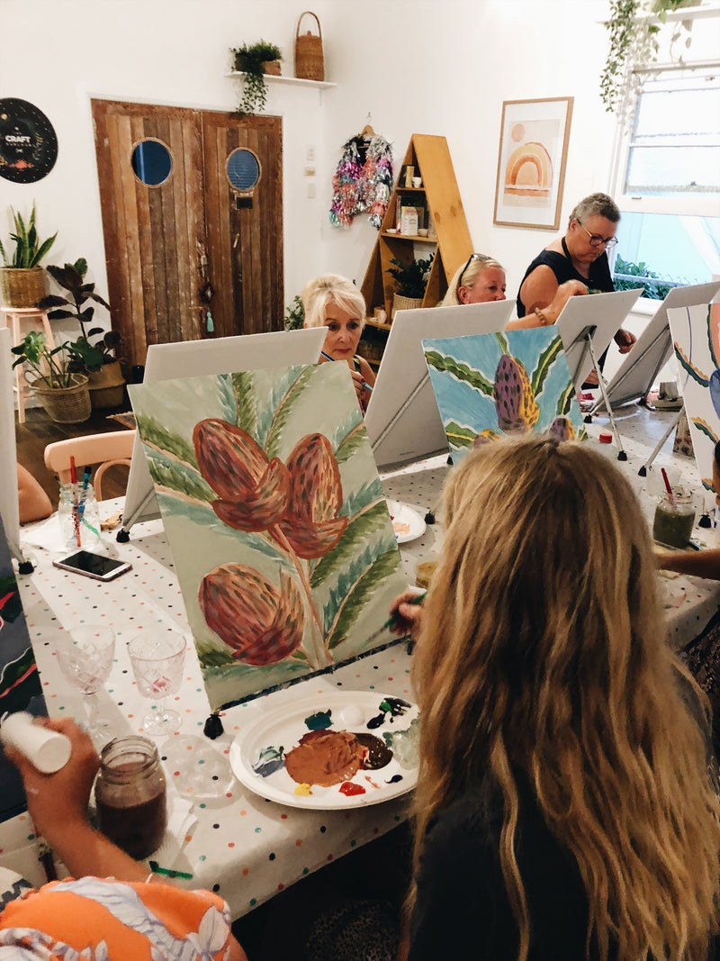 Ladies painting botanical prints at The Craft Parlour painting workshop