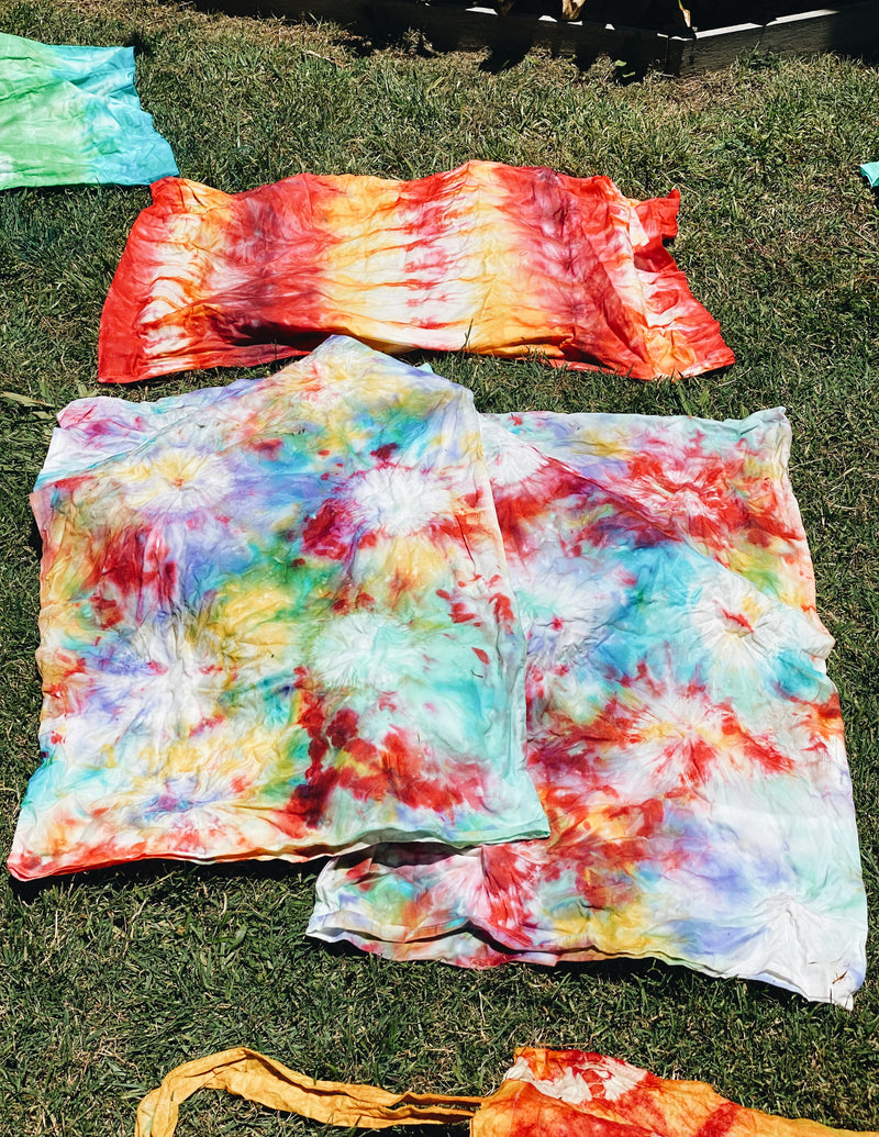Hand dyed pillowcases with beautiful patterns and colours