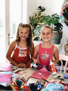 Two girls making cards at craft club Gold Coast