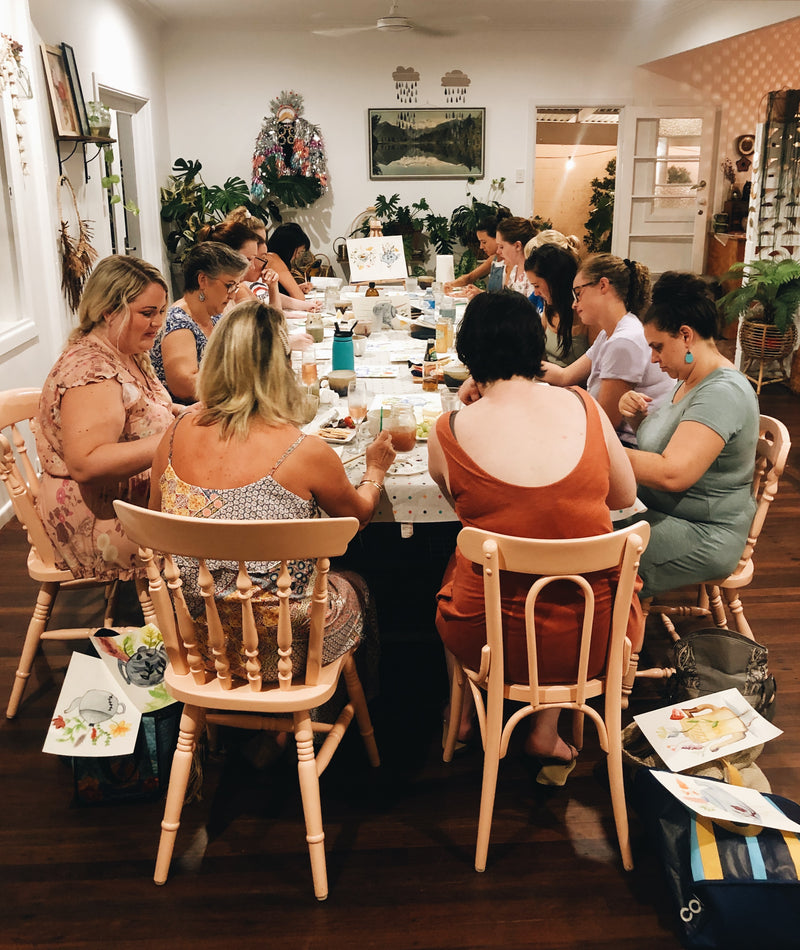 Group of ladies painting watercolours at The Craft Parlour workshop