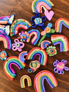 Bright coloured clay rainbows made by kids