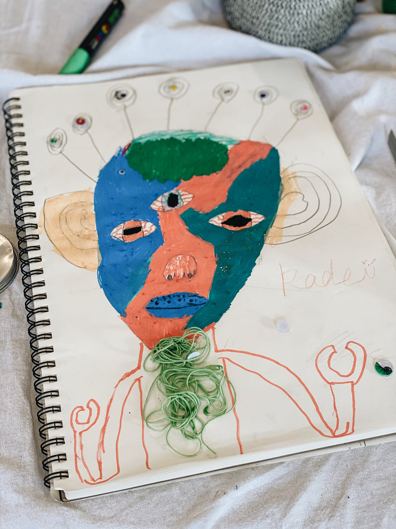 Child's alien painting created at Gold Coast after school art class