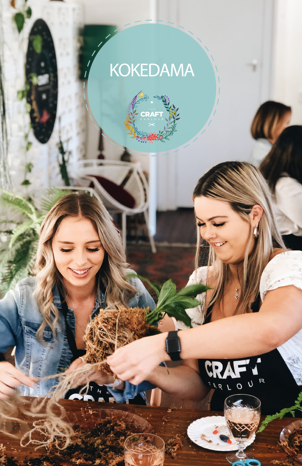 Two ladies making kokedama string garden